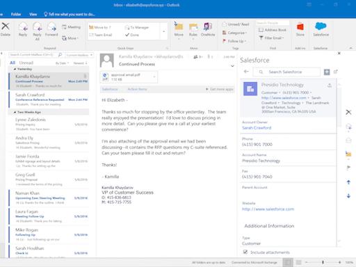 Salesforce Outlook Add-in Screenshot