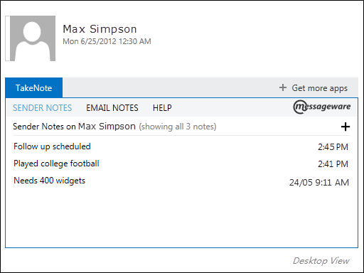 Takenote Outlook Add-in Screenshot