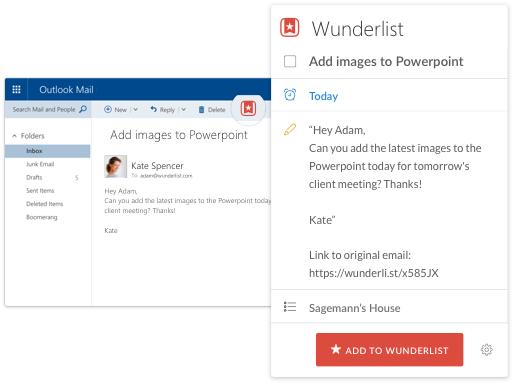 Wunderlist Outlook Add-in Screenshot